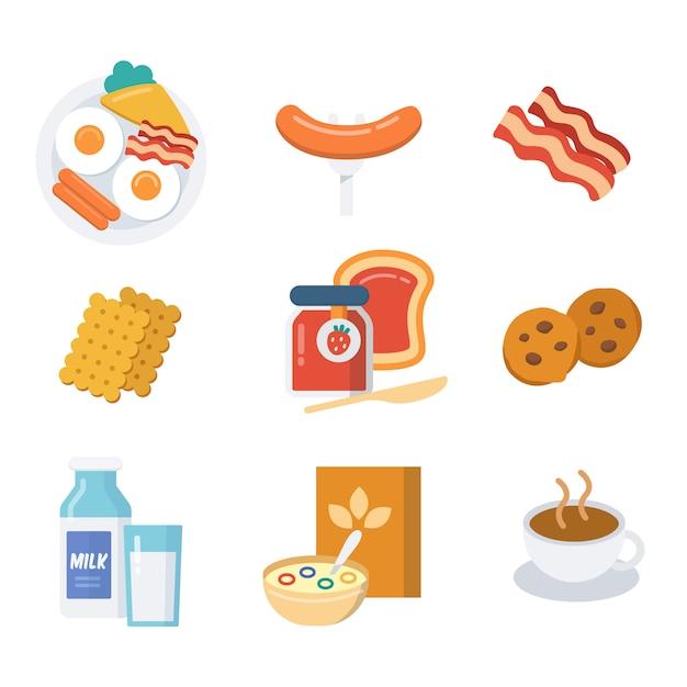 Conjunto de ícones de café da manhã, estilo simples, preto e branco. Vetor Premium