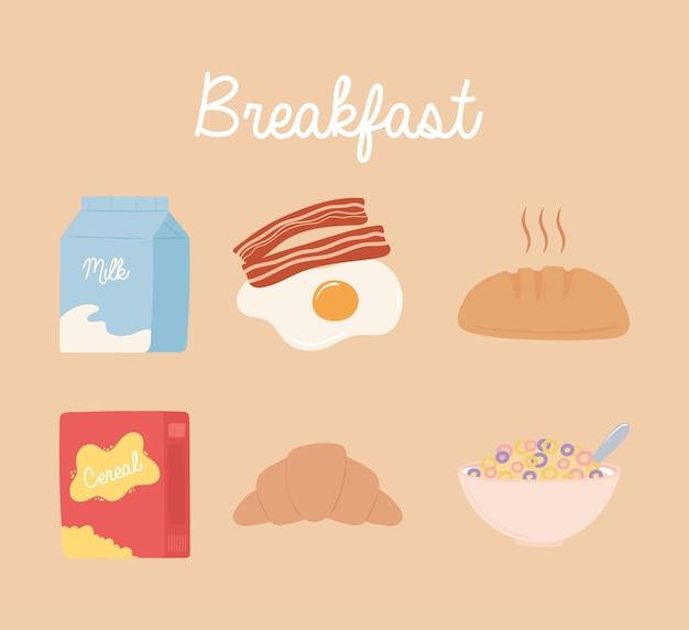Conjunto de ícones de café da manhã, leite, ovo, bacon, pão, cereal, leite, ilustração, croissant Vetor Premium