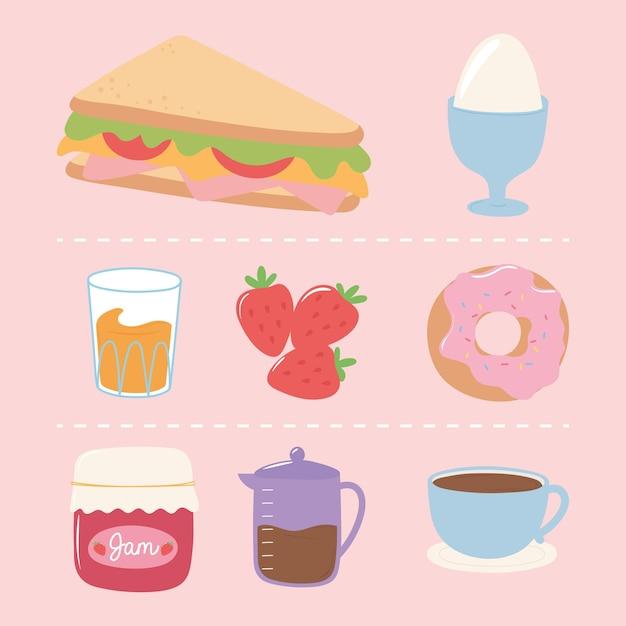 Conjunto de ícones de café da manhã, sanduíche de ovo cozido, donut, suco, cafeteira e ilustração de xícara Vetor Premium