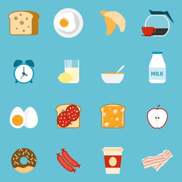 Conjunto de ícones de café da manhã Vetor grátis