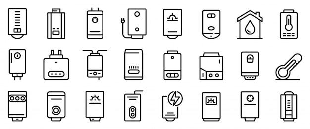 Conjunto de ícones de caldeira, estilo de estrutura de tópicos Vetor Premium