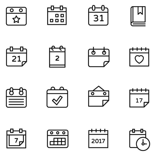 Conjunto de ícones de calendário de mesa Vetor Premium