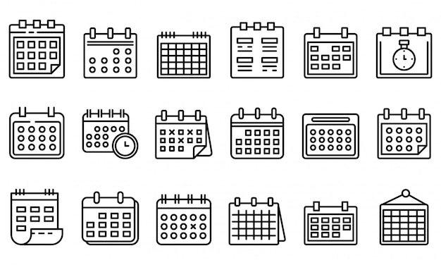 Conjunto de ícones de calendário, estilo de estrutura de tópicos Vetor Premium
