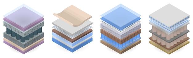 Conjunto de ícones de camada de colchão, estilo isométrico Vetor Premium