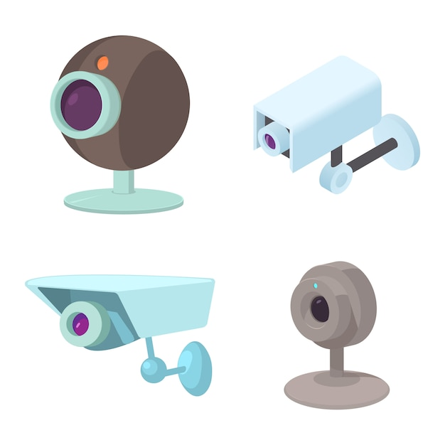 Conjunto de ícones de câmera de segurança Vetor Premium