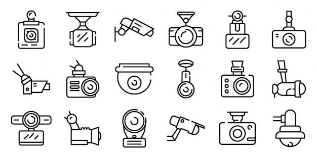Conjunto de ícones de câmera dvr, estilo de estrutura de tópicos Vetor Premium