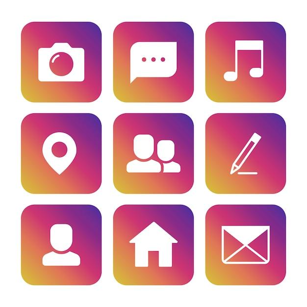 Conjunto de ícones de câmera, fotografia, balão, nota musical, ponto de localização, avatar, lápis, casa e envelope Vetor Premium