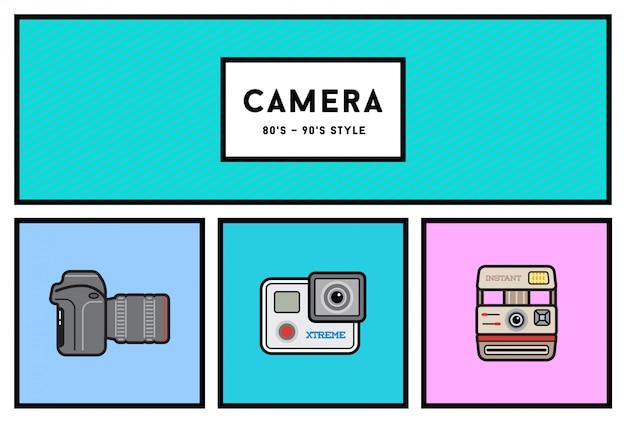 Conjunto de ícones de câmera fotográfica elegante dos anos 80 ou 90 com cores retrô Vetor Premium