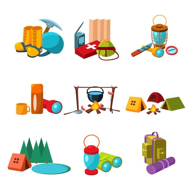 Conjunto de ícones de caminhadas e camping Vetor Premium