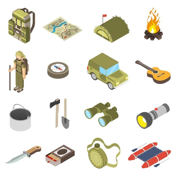 Conjunto de ícones de caminhadas e campismo Vetor grátis