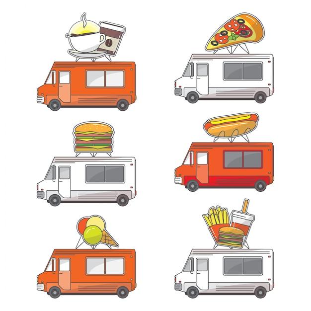 Conjunto de ícones de caminhão de comida de rua plana de vetor Vetor Premium