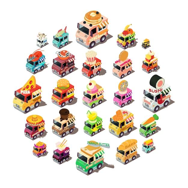 Conjunto de ícones de caminhão de comida, estilo isométrico Vetor Premium