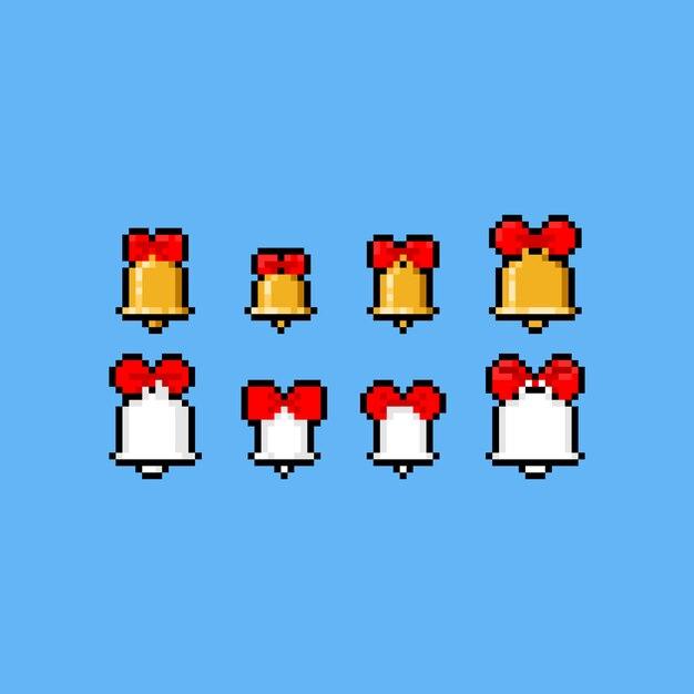 Conjunto de ícones de campainha pixel art dos desenhos animados com fita vermelha. Vetor Premium