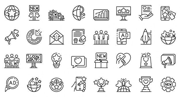 Conjunto de ícones de campanha, estilo de estrutura de tópicos Vetor Premium