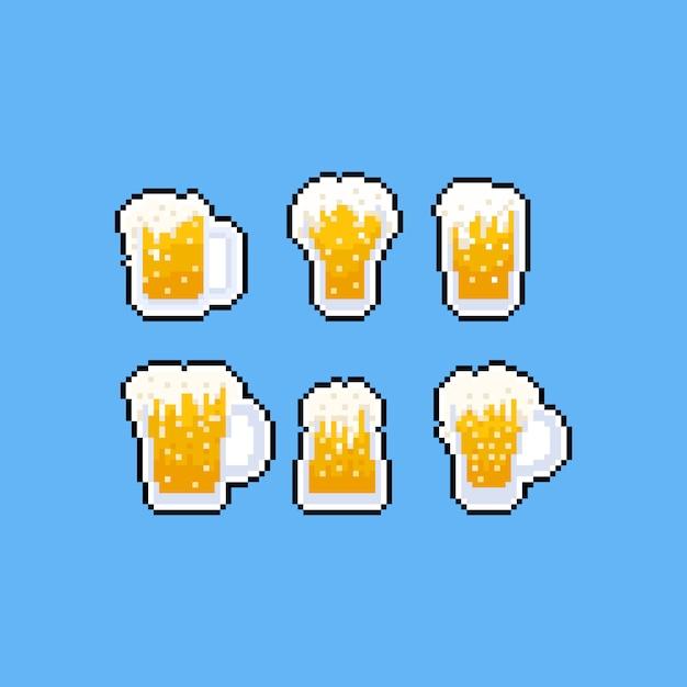 Conjunto de ícones de caneca de cerveja pixel art cartoon Vetor Premium