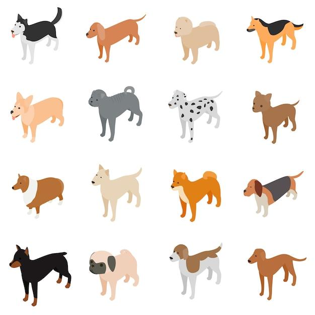 Conjunto de ícones de cão Vetor Premium