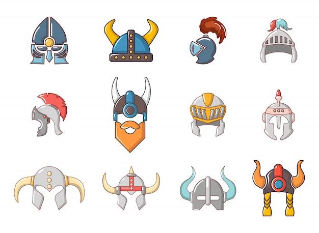 Conjunto de ícones de capacete de guerra. conjunto de desenhos animados de ícones de vetor de capacete de guerra conjunto isolado Vetor Premium