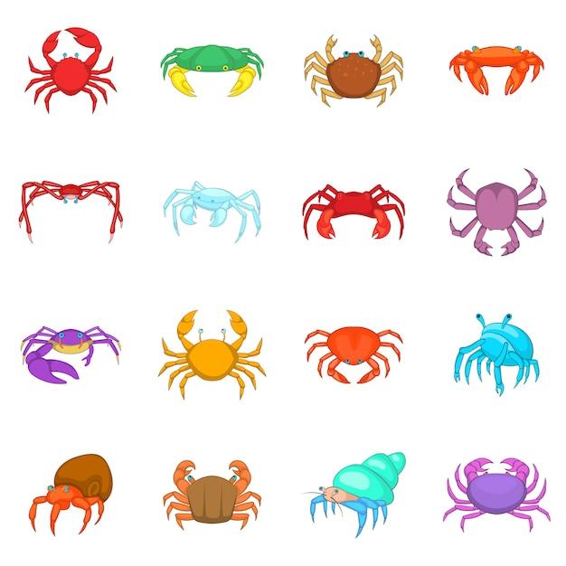 Conjunto de ícones de caranguejo colorido Vetor Premium