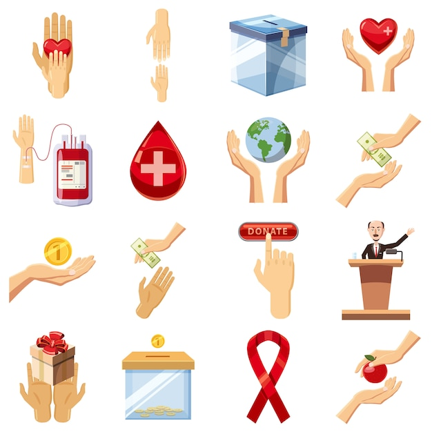 Conjunto de ícones de caridade, estilo cartoon Vetor Premium