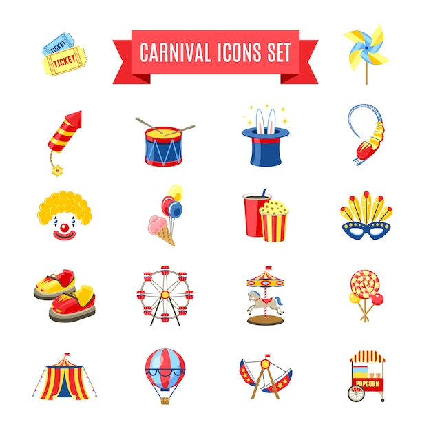 Conjunto de ícones de carnaval Vetor grátis