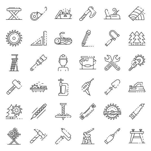 Conjunto de ícones de carpinteiro, estilo de estrutura de tópicos Vetor Premium