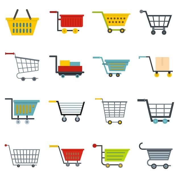 Conjunto de ícones de carrinho de compras em estilo simples Vetor Premium