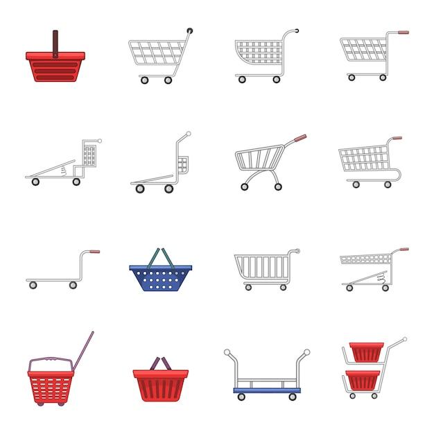 Conjunto de ícones de carrinho de compras Vetor Premium