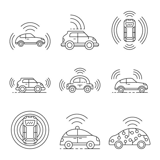 Conjunto de ícones de carro sem motorista. conjunto de contorno dos ícones de vetor de carro sem motorista Vetor Premium
