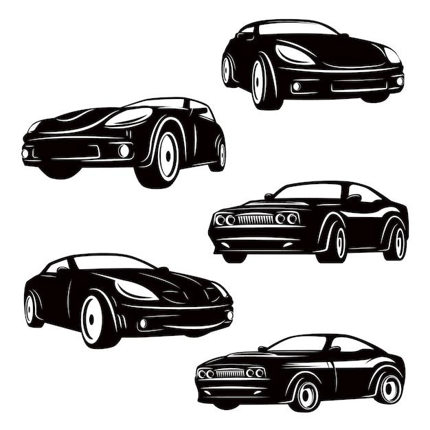 Conjunto de ícones de carros em fundo branco. elementos para o logotipo, etiqueta, emblema, sinal, crachá. ilustração Vetor Premium