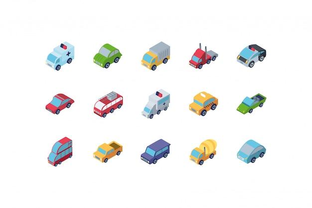 Conjunto de ícones de carros isométricos isolados Vetor Premium