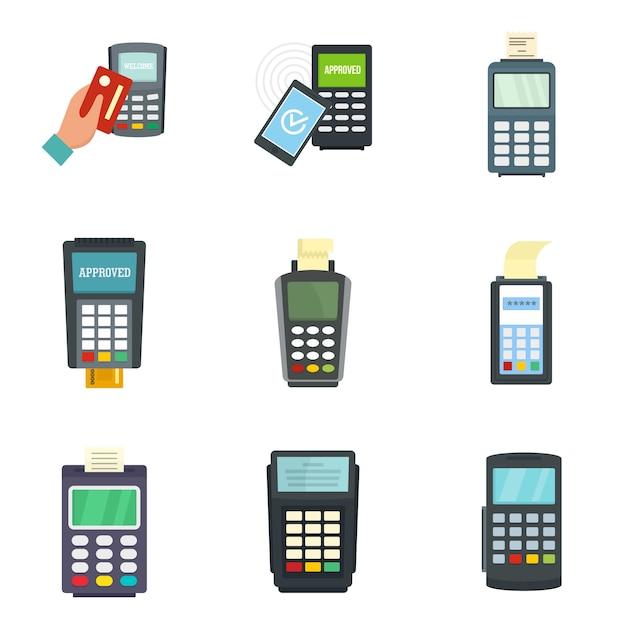 Conjunto de ícones de cartão de crédito do terminal do banco Vetor Premium