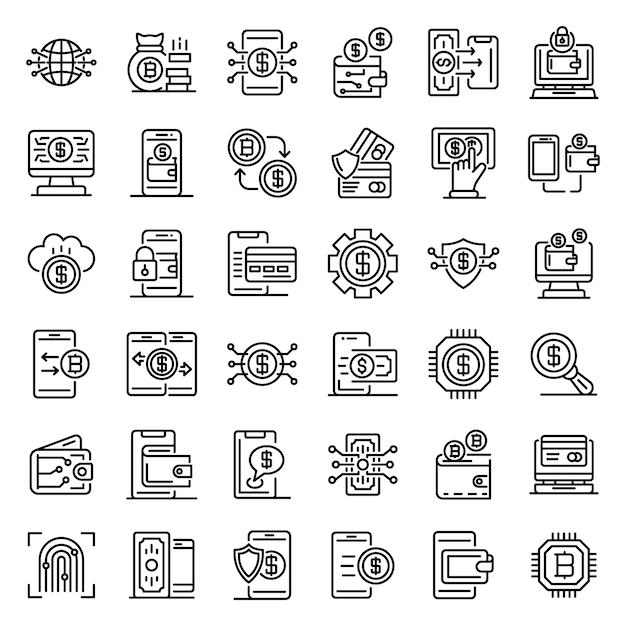 Conjunto de ícones de carteira digital, estilo de estrutura de tópicos Vetor Premium
