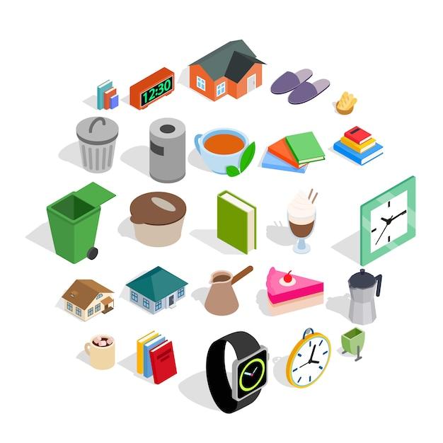 Conjunto de ícones de casa de campo, estilo isométrico Vetor Premium