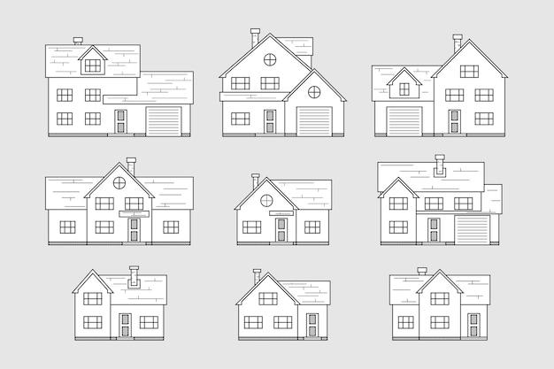 Conjunto de ícones de casa, estilo de linha fina Vetor Premium