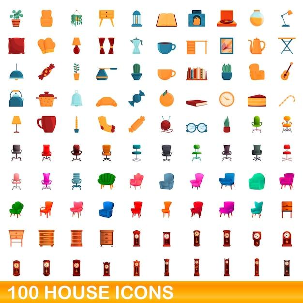Conjunto de ícones de casa. ilustração dos desenhos animados de ícones de casas em fundo branco Vetor Premium