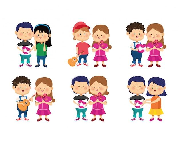 Conjunto De Icones De Casais Felizes Dos Desenhos Animados No Amor