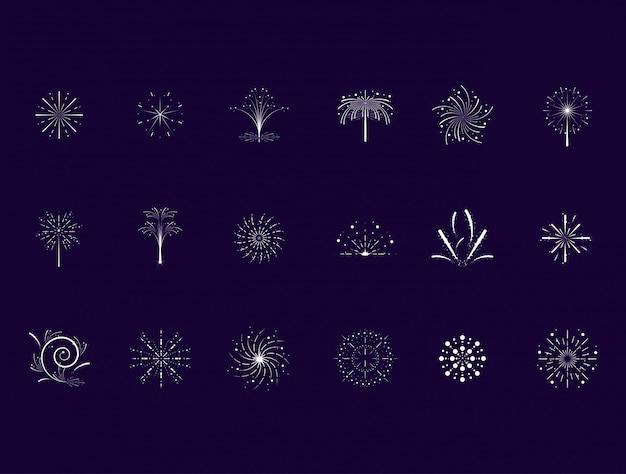 Conjunto de ícones de cena de fogos de artifício Vetor Premium