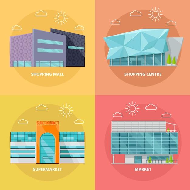 Conjunto de ícones de centro comercial em design plano Vetor Premium