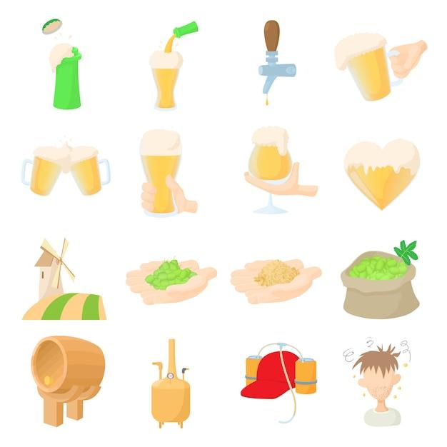 Conjunto de ícones de cerveja em vetor de estilo dos desenhos animados Vetor Premium