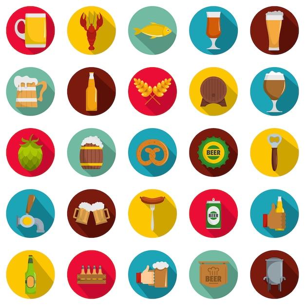 Conjunto de ícones de cerveja, estilo simples Vetor Premium