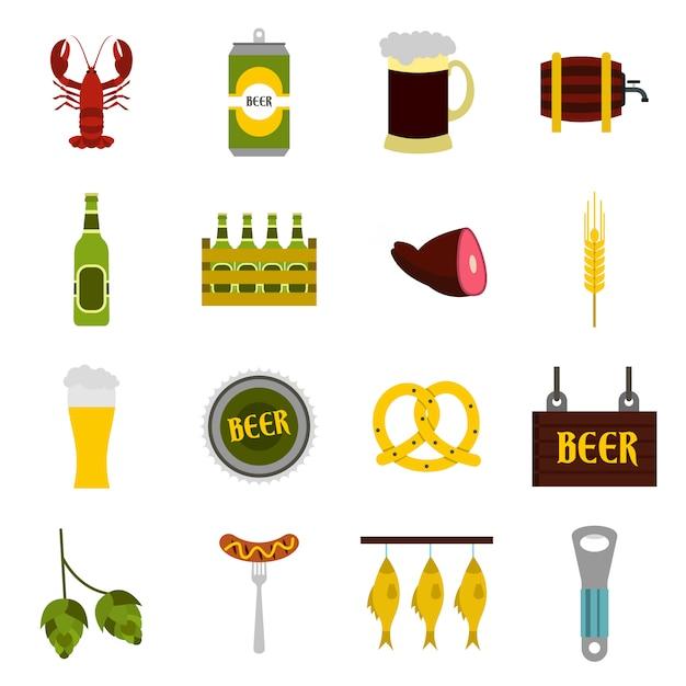 Conjunto de ícones de cerveja Vetor Premium