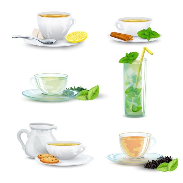 Conjunto de ícones de chá Vetor grátis