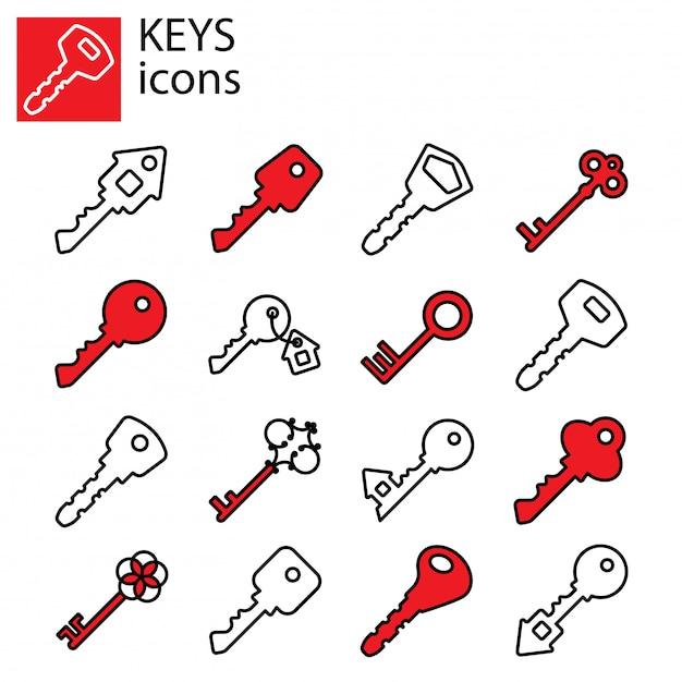 Conjunto de ícones de chaves Vetor Premium