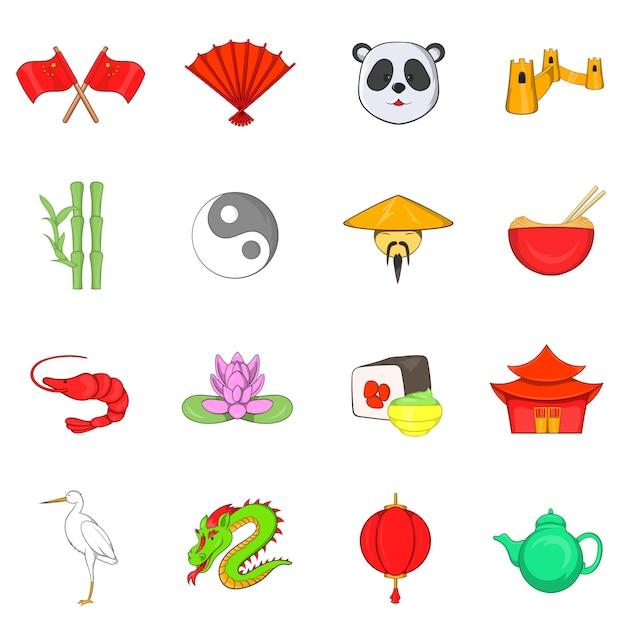 Conjunto de ícones de china Vetor Premium