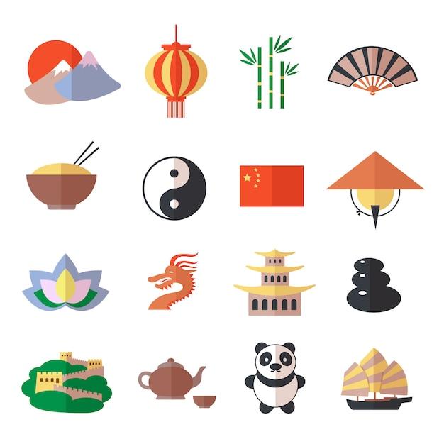 Conjunto de ícones de china Vetor grátis