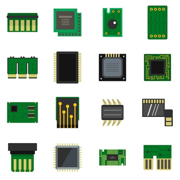 Conjunto de ícones de chips de computador em estilo simples Vetor Premium