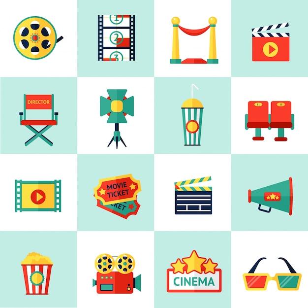 Conjunto de ícones de cinema Vetor grátis