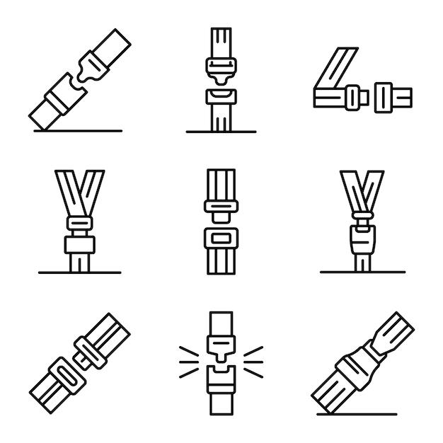 Conjunto de ícones de cinto de segurança, estilo de estrutura de tópicos Vetor Premium
