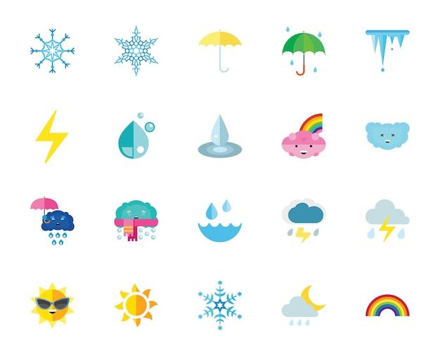 Conjunto de ícones de clima e clima Vetor grátis