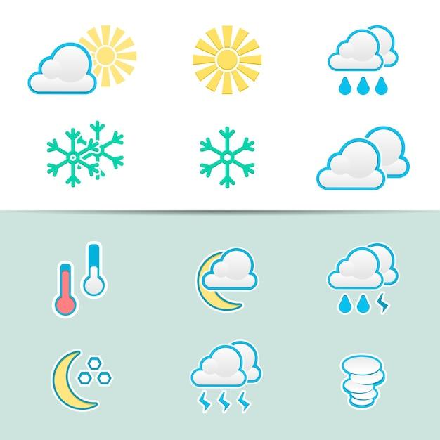 Conjunto de ícones de clima elegantes Vetor grátis